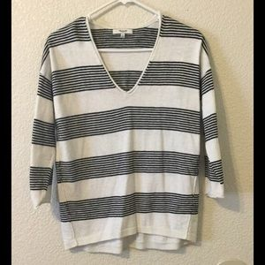 Madewell | Black and White Striped V-Neck Sweater